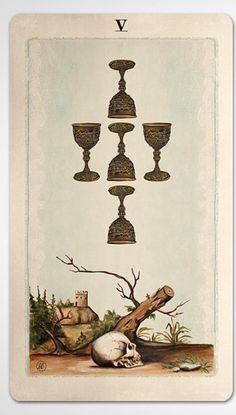 PAGAN OTHERWORLDS tarot deck of cards by UUSI. Five of Cups.