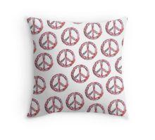Throw Pillow Far Too Pretty vintage floral peace symbol design