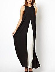 cor contraste de costura divisão vestido de chiffon maxi das mulheres