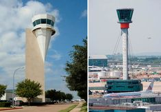 Fort Worth Alliance Airport and Heathrow Airport Control Towers