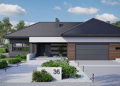 Projekt domu HomeKoncept-36 125,80 m² - koszt budowy - EXTRADOM Flat Roof House, Facade House, Bungalow House Design, Modern Bungalow, Boutique Hotel Bedroom, House Plans Mansion, House Makeovers, Log Home Living, Modern Villa Design