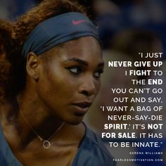 The Greatest Serena Williams Quotes - Inside The Mind Of A Champion She is perhaps the greatest female athlete of all time. Let's learn from her - inside the mind of a true champion. Serena Williams Quotes, Venus And Serena Williams, Positive Quotes, Motivational Quotes, Inspirational Quotes, Quotes To Live By, Life Quotes, Wisdom Quotes, Quotes Quotes