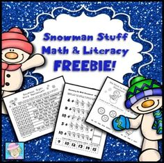 FREE! This Common Core based, snowman-themed freebie pack contains 10 pages of math & literacy activities. There are 3 pages of cut-and-glue CC math, an 8-page emergent reader, a snowman writing page, 2 pages of add & read sight word sentences, an addition game, and a full-color bump game.