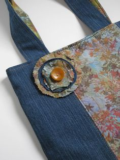 upcycled denim bag.  I think $65 is too much for this tote but I do like it.