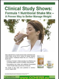 Herbalife Formula 1 Protein Shake:  Clinical Study shows it's a PROVEN Way to manage your weight!  Drinking Herbalife Formula 1 every day is an effective way to manage your weight as a part of a healthy, active lifestyle!  Order now!  Herbalife Wellness Coach / Los Angeles, Ca / 310-904-8399 / Need help with choosing a nutrition plan? Call me for a free consultation. https://www.goherbalife.com/wellnessstore/en-US