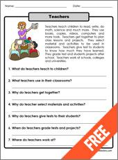 Teachers - One Paragraph long reading about Teachers. Printable includes 7 different comprehension questions. – Available in English and Spanish.