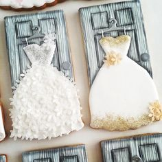 This Instagram has INSANE wedding dress cookies. The flowers were punched out of wafer paper.