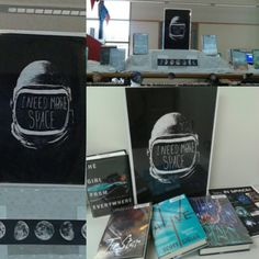 """Outer space teen library display. """"I need more space"""" graphic. It's hard to see but I posted all the planets below the books. #teenfiction #YAouterspace #teenlibrarydisplay"""