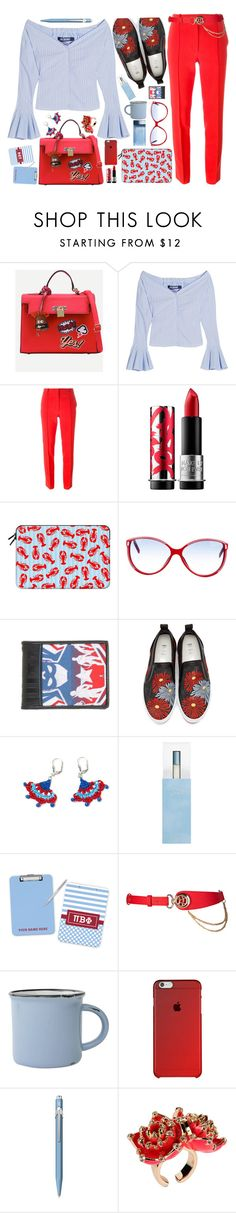 """baby blue  meets red"" by katymill ❤ liked on Polyvore featuring Jacquemus, Emilio Pucci, MAKE UP FOR EVER, Casetify, Balenciaga, Marvel, MSGM, Dolce&Gabbana, canvas and Caran D'Ache"