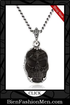 Mens Necklaces | Mes Necklace | Mens Accessories | Mens Jewelry | Mens Fashion |  Necklace on Men | Jewelry on Men | Jewelery for Men | Necklaces on Men | Men Jewellry ♦ King Baby Men's Bezel Set Carved Jet Day of the Dead Skull Pendant Necklace $615.00 #men'sjewelry
