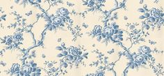 Ashfield Floral (PRL027/01) - Designers Guild Wallpapers - A remarkable floral design, full of romantic character but with a contemporary approach, and versatile in its range of colours. Shown here in delft blue on cream. Please request a sample for true colour match. Wide width paper.