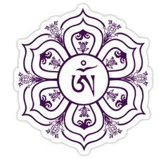 Tibetan Om Symbol in Lotus Throne Mandala (Line Drawing) by bodhicittatees