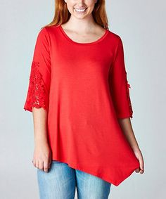 Look what I found on #zulily! Red Lace-Sleeve Asymmetrical Tunic - Plus by Elegant Apparel #zulilyfinds