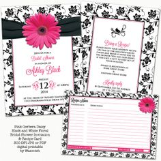 Pink gerbera daisy, black and white floral damask and ribbon recipe themed bridal shower invitation and recipe card digital printable by wasootch, $25.00  Perfect for a gerber daisy themed wedding shower. If you want this design printed just let us know.