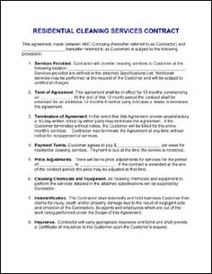 Contract For Services Agreement - sample janitorial contract ...