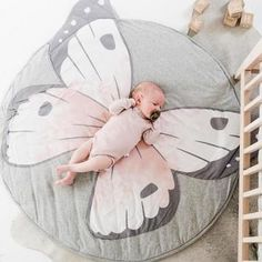 Butterfly Playmat Creeping Carpet Washable Rug for Kids Bedroom DécorINS New Baby Play Mats Kid Crawling Carpet Floor Rug Baby Bedding Butterfly Blanket Cotton Game Pad Children Room Decor rugs. Quilt Baby, Playmat Baby, Playroom Decor, Kids Decor, Baby Bedroom, Kids Bedroom, Bedroom Ideas, Butterfly Nursery, Crawling Baby