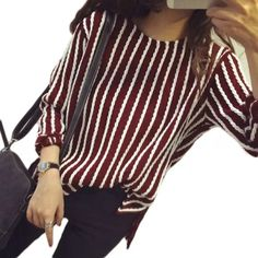Red and white striped sweater Cotton thin and warm long sleeve sweater. Dark red with white stripes. Stretchy. Vintage Sweaters