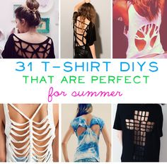 31 T-Shirt DIYs That Are Perfect For Summer.  I am about to clean out my t-shirt collection and it would be perfect to transform some of them.  T