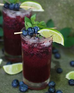 Black and Blueberry mocktail  grape cherry or pomegranate juice honey