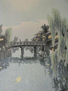 japanese art woodblock print | old Estate artist marks Japanese WOODBLOCK PRINT lanscape signed paper ...