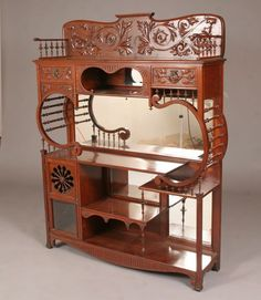 Victorian Art Nouveau Etagere With Beveled Glass, Decorative Chip Carved Gallery, Five Shelves Victorian Furniture, Victorian Art, Funky Furniture, Unique Furniture, Wood Furniture, Vintage Furniture, Furniture Design, Victorian Shelving, Victorian Mirror