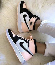 JORDAN 1 SALMON by waldocustom Cute Nike Shoes, Cute Sneakers, Nike Air Shoes, Shoes Sneakers, Sneakers Nike Jordan, Jordan Shoes Girls, Jordans Girls, Girls Shoes, Boy Shoes