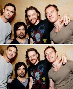 Nicholas Hoult, Peter Dinklage, James McAvoy, and Michael Fassbender  So much awesome in one picture.