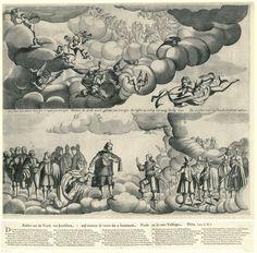 Anonymous | Allegorie op de Vrede van Westfalen (rechterblad), 1648, Anonymous, 1648 | Allegorie op de Vrede van Westfalen (linkerblad), 1648. De voorstelling op het rechterblad toont boven de hemel met engelen en onder koning Filips IV, verschillende vorsten en de afgevaardigden van de Staten-Generaal in de wolken. De prins van Oranje legt een eed af. Door de wolken loopt een Nederlandse tekst. In de wolken ook de Faam die het nieuws van de vrede bekend maakt. Bij de prent behoort een…