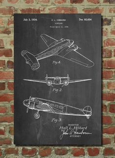 Lockheed Electra Airplane Patent Poster, Airplane Wall Art, Aviation Decor, Plane Nursery, Air Force Gift by PatentPrints on Etsy https://www.etsy.com/listing/226676885/lockheed-electra-airplane-patent-poster