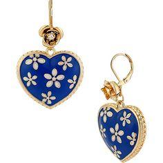 Betsey Johnson Flower Heart Drop Earring ($35) ❤ liked on Polyvore