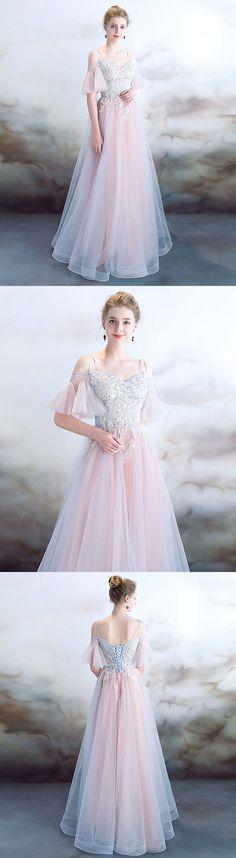 Elegant light pink tulle long prom dress, pink evening dress, pink bridesmaid dress