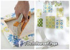 diy  Fabric over photo frames to make wall art