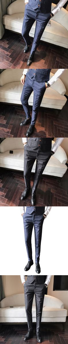 Men's pants winter new 2017 casual pants male plaid trousers Korean version of the trend of youth wild Slim pants