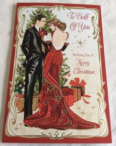 """To Both Of You Christmas Art Deco Card Greeting FOR SALE • £4.99 • See Photos! Money Back Guarantee. Write From The Heart Luxury Greeting Card. Card is 27cm (10"""") x 17cm (7"""") approx.  322253715978"""