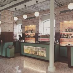 A bar and cafe designed by Wes Anderson at the Fondazione Prada art centre in #Milan