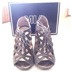 MIA Tudor Gillie Lace Up Wedge Olive green lace up wedge. Only worn a couple times. 4 inch wedge. Mia Shoes Wedges
