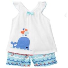NWT 2T Gymboree Sea Splash Aquatic Life Whale Sleeveless Shortie Pajama Set