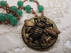 Vintage Brass Bumblebee Bee Insect Pin Necklace Green Beads Leaf Design Handmade