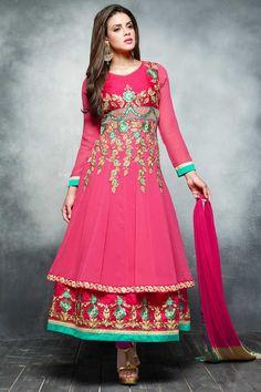 Pink Georgette Anarkali churidar Suit With Dupatta