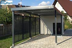 MyPort Einzelcarport mit seitlichem Wandelement und Geräteraumanbau. #carport #carports  #Doppelcarport #metallcarport #stahlcarport #Einzelcarport #Wohnmobil #Caravan #Wohnwagen #Auto #Fahrrad #design #architecture #architektur #myport