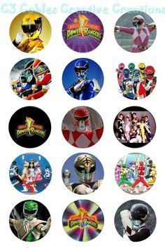 Who doesnt remember The Power Rangers? Ive done up a sheet of all 7 colors of the rangers and several group shots as well as some of the logo.  I