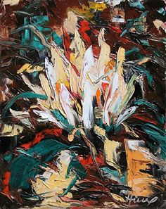 Lotus In The Darkness by Robert Hickox Oil ~ 20 x 16