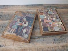 jeu d'enfant cubes en bois // puzzle cube // casse tête // boîte en bois // vintage // enfance // français de la boutique TheFrenchAtticBazaar sur Etsy