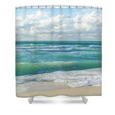 Miami Ocean Shower Curtain featuring the photograph Miami Ocean by Elena Chukhlebova #showercurtain #ocean #coastal #bathdecor #elenachukhlebova