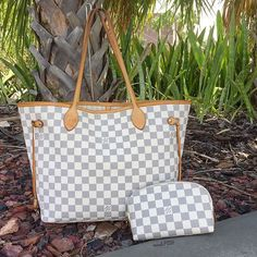 Louis Vuitton Damier Azur Neverfull MM & matching Cosmetic Pouch! Call us at…