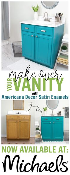 Making over your bathroom vanity is easy with Americana Decor Satin Enamels. Pick up a jar at your local @michaelsstores  store today! #decoartprojects