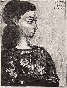 "Pablo Picasso (1881-1973) ""FEMME AU CORSAGE À FLEURS"". Lithograph, 1958, on Arches paper, signed in pencil and numbered 44/50. I. 64 x 48 cm. S. 66 x 50.1 cm. Private collection"