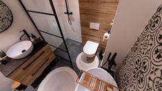 Mala lazienka, czarno biala z dodatkami drewna, wanna i prysznic Malaga, Toilet, Sink, Bathroom, Home Decor, Rooms, Interiors, Flat, Home