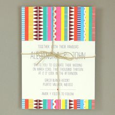 "Alejandra Suite - Sarape ""Bold"" Destination Wedding Invitation - Colorful Bohemian Wedding Invite - Customizable Wedding Invitation - Sample..."