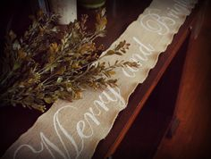 Holiday table runner burlap Merry and  bright by PaperPolaroid, $40.00